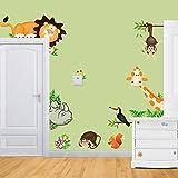 WandSticker4U- Wandtattoo'lustige Wald Tiere' I Wandaufkleber Wandsticker Dschungel Nashorn Giraffe Safari Affe Löwe Park Zoo-tiere Eichhörnchen I Deko für Kinderzimmer Babyzimmer Kinder baby Junge
