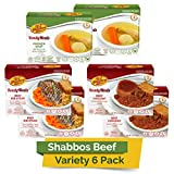 Kosher MRE Meat Meals Ready to Eat, Shabbos Beef Variety (6 Pack) - Prepared Entree Fully Cooked, Shelf Stable Microwave Dinner – Travel, Military, Camping, Emergency Survival Protein Food Supply Kit