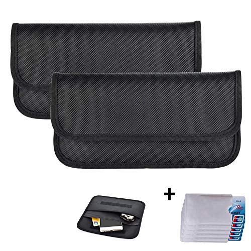 Newseego 2 x RFID Signalblocking Tasche | 5 x RFID-Kreditkartenhüllen, Keyless Go Schutz Autoschlüssel, Faraday-Tasche für Handy Strahlenschutz Tasche Funkschlüssel Abschirmung Auto Blocker