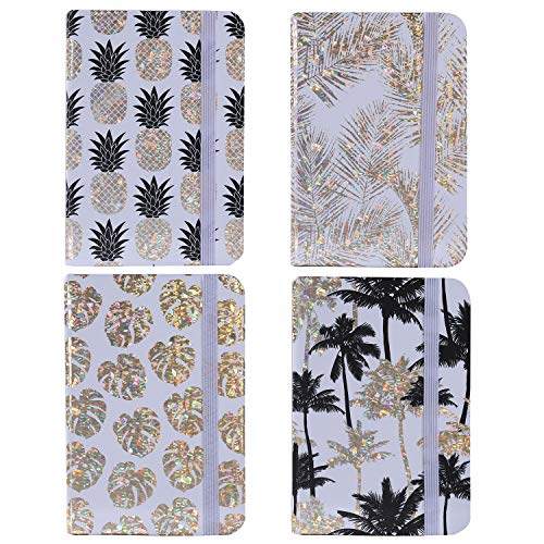 4Pcs Hardcover Executive Notepads Travelers Mini Notebook Set, Portable Memo Notebooks Journal for Outdoor Activities Recording (4, Gold Pineapple)