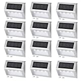 Solar Powered 4 LED Step Deck Outdoor Lamp Garden Yard Wall Fence Lights (12 Pack)