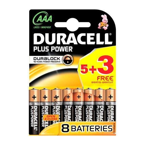 Duracell MN2400B5+3 Plus Power Batterie AAA 5 +3 Gratis Pack