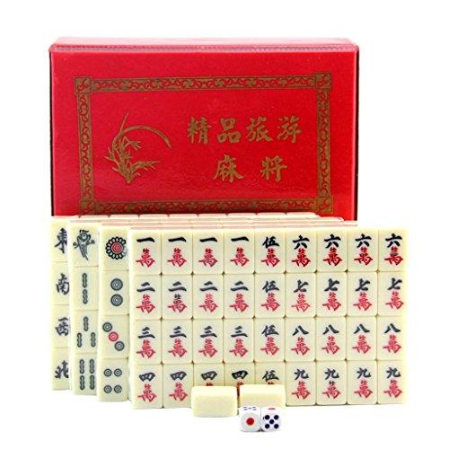 KESOTO Juego de Mesa Mahjong Chino Tradicional con Caja de Almacenamaiento Juguete...