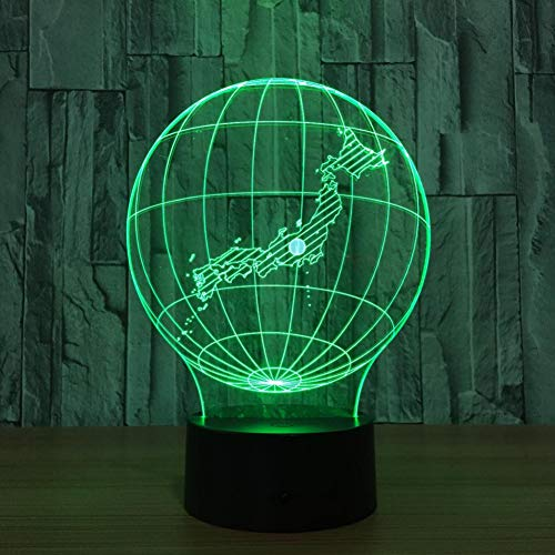 LIkaxyd LED 3D-nachtlampje, optische illusielamp 7 kleuren veranderen, Touch USB & batterij-aangedreven speelgoed decoratieve lamp, beste cadeau voor kinderen-wereldbol