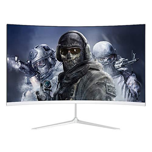 YILANJUN Monitor Gaming - 27', Curvo de 27 Pulgadas, 178 °, 16: 9, 1920 × 1080, 75HZ, 6MS, HDMI, Filtro de Luz Azul y sin Parpadeo, Full HD, Monitor de Pantalla para Juegos, Plateado