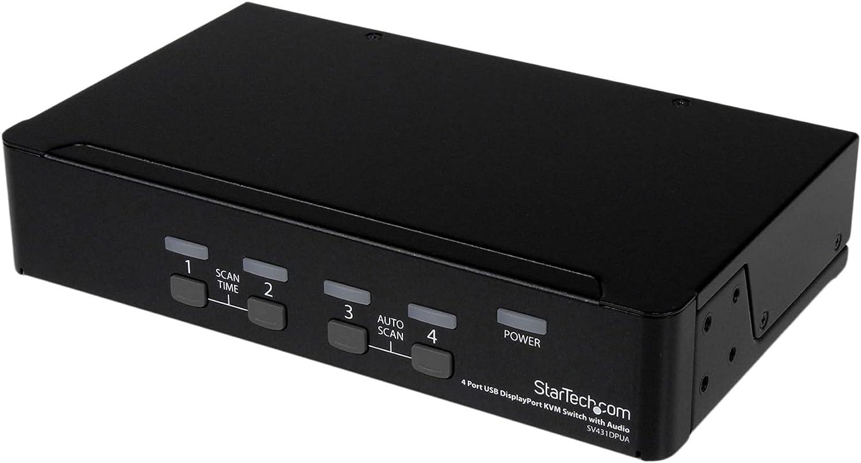StarTech.com 4 Max 83% OFF Port DisplayPort KVM Switch famous Audio w Keybo USB -