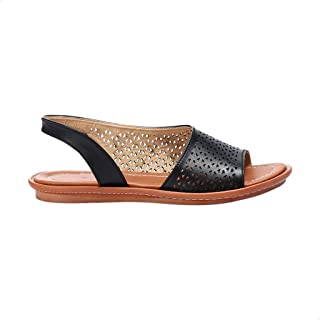 Grinta Faux Leather Open-Toe Geometric Laser Cut Flat D'orsay Sandals For Women