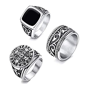 CASSIECA 3 STÜCKE Edelstahl Signet Ring für Herren Frauen Breit Gravur Christ Templer Ring Vintage Punk Biker Gothic Ring