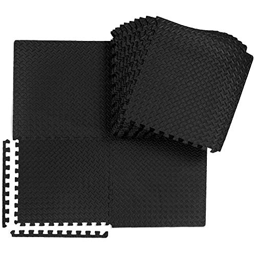 """Best Choice Products 24-Piece Puzzle Exercise Mat, Multipurpose Floor Interlocking Tiles Protective Floor Workout Gym Mat, 24 x 24 x 3/8"""", 96 sq. ft. - Black"""