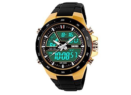 SKMEI 5ATM Moda Impermeable Hombres LCD Cronómetro Cronógrafo Fecha Alarma Casual Deportes Reloj 2 Zona Horaria