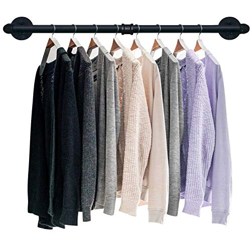TLBTEK 36inch Industrial Pipe Clothes RackHeavy Duty Rustic Clothes Hanging Shelves SystemWall Mounted Detachable Black Iron Metal Garment Bar for Retail DisplayCloset Organization