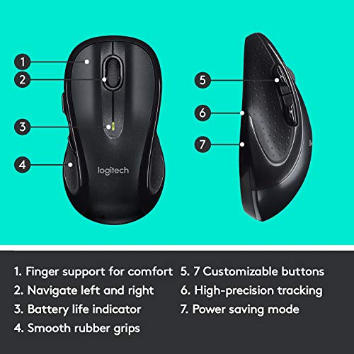 Logitech M510 Wireless Computer Mouse – Comfortable Shape with USB Unifying Receiver, with Back/Forward Buttons and Side-to-Side Scrolling, Dark Gray