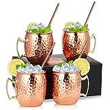 Moscow Mule - Set di 4 bicchieri in rame da 18 oz, 4 cannucce, in acciaio INOX e rame rame rivestito in rame, battuto e fatto a mano, per casa, bar, feste