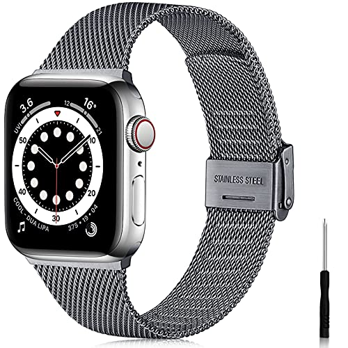 Ouwegaga Ersatz Armband Kompatibel mit Apple Watch Armband 38mm 40mm 42mm 44mm SE, Klassisches Edelstahl Metall Armband Kompatibel mit iWatch Series 6 5 4 3 2 1,42mm/44mm Grau