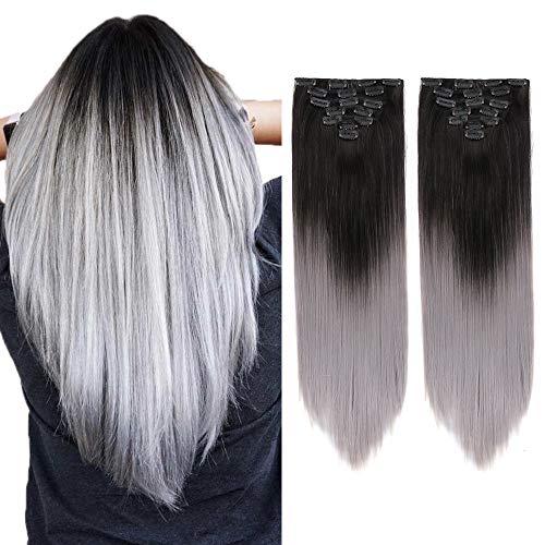 2Pack Ombre Straight Clip in Haarverlängerung 7 Stück 16Clips in Ombre Red Haarverlängerungen 22 Zoll langes glattes Ombre Haarteil (natürliches Schwarz bis Silbergrau)