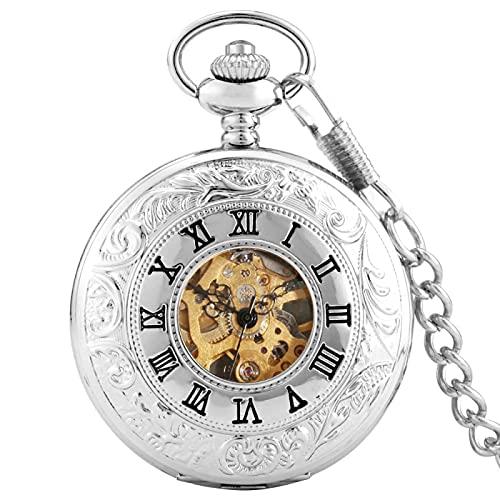 ZIYUYANG Reloj de Bolsillo,Reloj de Bolsillo Hueco mecánico de Lujo Dorado Plateado con números Romanos Esfera Plateada