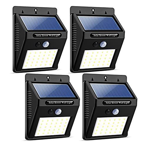 YOMYM Solar Lights Sensor de movimiento a prueba de agua inalámbrico Luz para exteriores para patio, terraza, patio, jardín con...