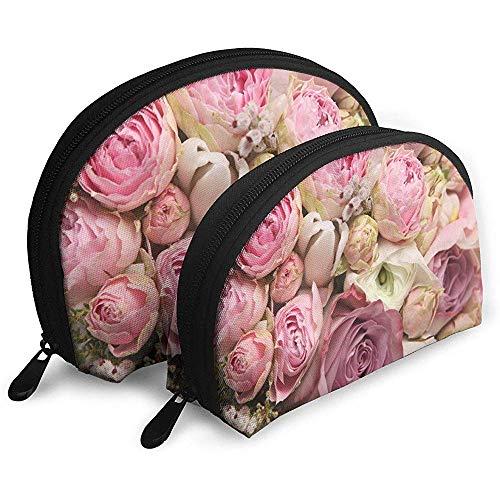 Rosen schöne tragbare Taschen Make-up Tasche Kulturbeutel, Multifunktions tragbare Reisetaschen kleine Make-up Clutch Pouch mit Reißverschluss