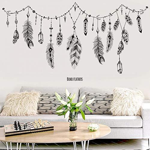 CSCZL Pegatinas de pared de plumas negras para dormitorio, sala de estar, baño, barra, cocina, decoración de pared, calcomanías de arte extraíbles, mural diy