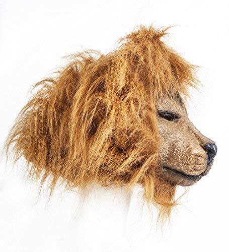 The Rubber Plantation TM 619219293716 - Mscara de len (ltex, jungla, safari), diseo de animales de Halloween, cabeza completa, vestido de piel sinttica, adulto unisex, talla nica