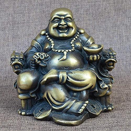 LXYZ Escultura de Estatua de Buda Zen pequeños Adornos, la Estatua de Buda de latón se Sienta en la Estatua de Milford y Decora el hogar Adornos de Feng Shui con la Silla de dragón Milford Crafts