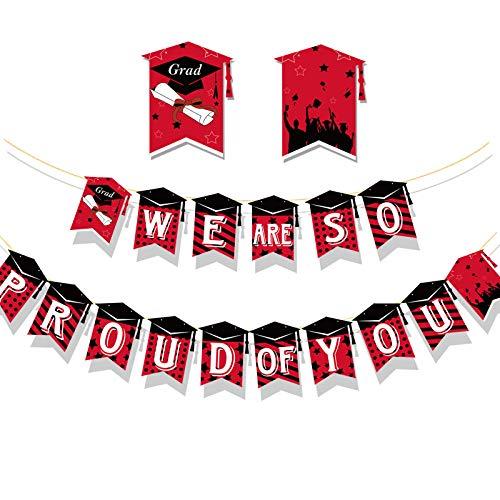 HOWAF Laurea Striscione Congratulazioni Laurea We're So Proud of You Carta Ghirlanda Bandiera Laurea Addobbi Banner Festone Decorazioni Festa di Laurea Bomboniere Party Casa (Rosso)