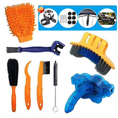 Karetto Bike Cleaning Brush Tools Set (12 Pack)- Bicycle Clean Brush Kit Durable/Practical- Suitable for Mountain, Road, City, Hybrid,BMX Bike and Folding Bike
