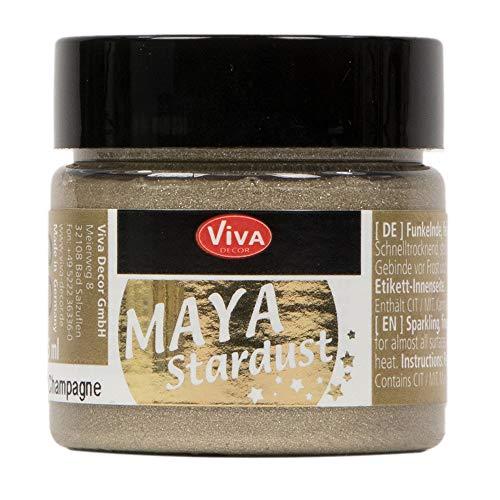 Viva Decor®️ Maya Stardust (Champagner, 45 ml) feinkörnige Glitzer Farbe - feine Effekt Paste zum Basteln - Glitter Farben für Porzellan, Beton, Steine, Papier, Glas UVM. - Wetterfest