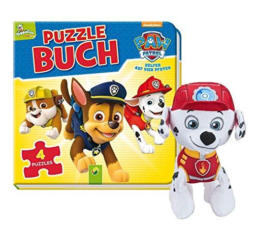 Libro de puzle de La Patrulla Canina: con 4 puzzles de 12 piezas (libro encuadernado) y peluche de la Patrulla Canina.