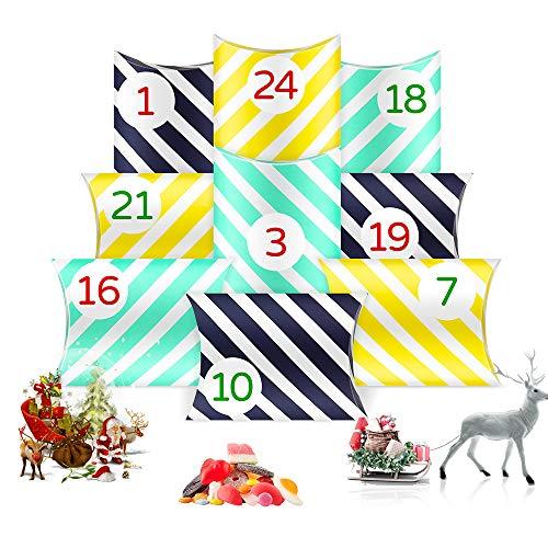 O-Kinee Calendario Dell'avvento, 24 Calendario di Natale Scatole con 24 Adesivi, Calendario Avvento Fai da Te, Calendario Avvento da Riempire per Natale Festa Laurea Compleanno Caramelle Noci