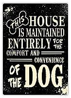 この家はT犬のティンサインの装飾ヴィンテージ壁金属プラークカフェバー映画ギフト結婚式の誕生日の警告のためのレトロな鉄の絵画のために維持されます