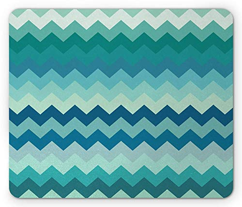 Ocean Mouse Pad, Beach Sand Waves Sealife Marine Design con Conchas Hot Summer Sun Holiday Print, Mousepad de Goma Antideslizante de tamaño estándar, Teal Blue-FR