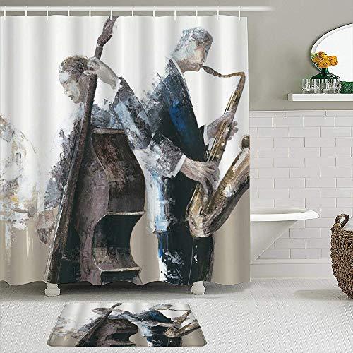 KISSENSU Cortinas con Ganchos,Divertido Pintura Saxofón Cello Tocar Orquesta Boceto Arte,Cortina de Ducha Alfombra de baño Bañera Accesorios Baño Moderno