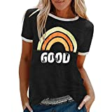 MORCHAN Femmes d'été Lettres Impression T-Shirt à Manches Courtes Tunique décontracté Hauts Chemisier(B-Noir/L)