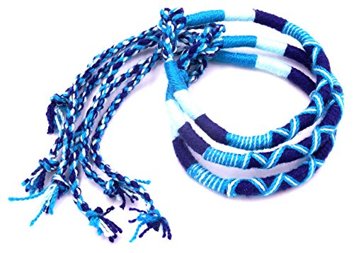 Lote de 3 Pulseras brasileñas de la Amistad de algodón de macramé de la Suerte para Hombre, Mujer, niña, Azul