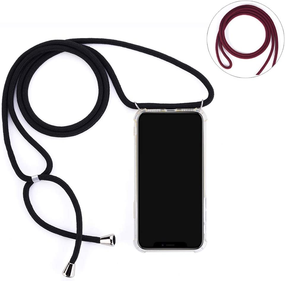 Arlgseln Clear Phone Case with Lanyard Strap, Soft Clear TPU Protective Cover+2 Lanyard Necklace Crossbody Case for Samsung Galaxy A20 A30 A50 A70 A51 A71 A32 A52 A72 5G 2021 (Black+Red, A20/A30)