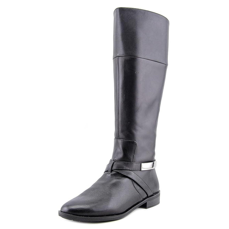 泥だらけわかる微視的Alfani Womens EGILA Wide Calf Almond Toe Leather Riding Boots
