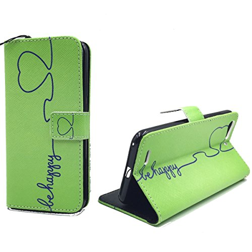 König Design Handyhülle Kompatibel mit ZTE Blade V6 Handytasche Schutzhülle Tasche Flip Hülle mit Kreditkartenfächern - Be Happy Design Grün