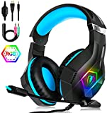 Unisun PS4 Headset PC Gaming Headphone with Microphone 3.5mm Jack Spliter Stereo Sound Breathing RGB Light Adjustable Mic for Xbox One Mac Laptop PC