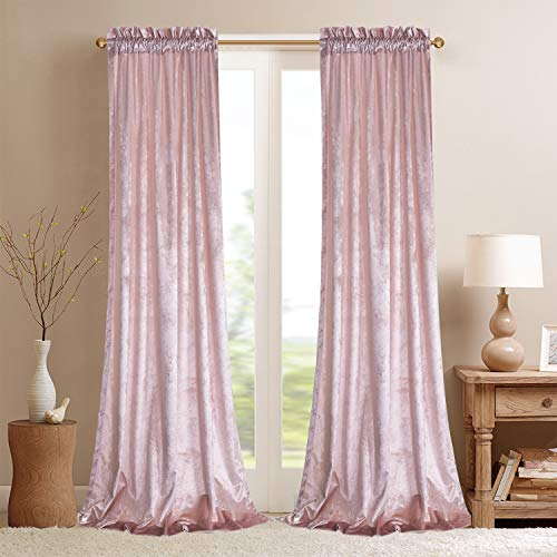 Roslynwood Velvet Curtain Panels Cream Room Darkening Window Super Soft Luxury Drapes for Bedroom Thermal Insulated Rod Pocket Curtain for Living Room (2 Panels, 52 by 63 Inch)