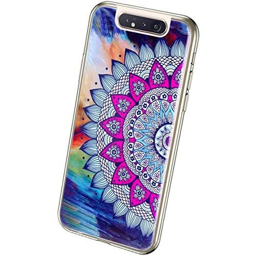 QPOLLY Kompatibel mit Samsung Galaxy A80/A90 Hülle TPU Silikon Leuchtend Bunt bemalt Muster Luminous Handyhülle Ultra Dünn Weich TPU Schutzhülle Handy Tasche Case für Galaxy A80/A90,Sonnenblume
