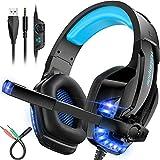 Auriculares Gamer,Auriculares para Juegos con Aislamiento de Ruido con Cable Para Ps4/pc/mac/xbox 3.5mm Luz Led Con Micrófono
