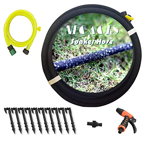 necacesSoaker HoseKit with Rubber Hose Pipefor Irrigation, Direct to Root,Great for Gardens/Flower beds,Reinforced Fittings1/2'' (inch) x 50' (feet)