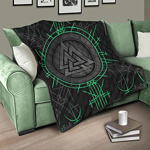 Flowerhome Colcha de runas vikingas, colcha de cama, manta para sofá, manta para dormir, para TV, para sofá, cama, color blanco, 230 x 280 cm