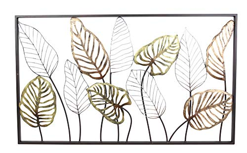 khevga Cuadro 3D de metal con hojas