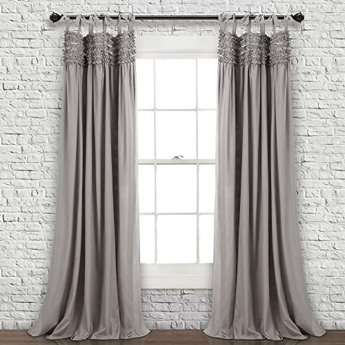 """Lush Decor Lydia Curtains Ruffle Window Panel Set for Living, Dining, Bedroom (Pair), 84"""" L, Gray"""