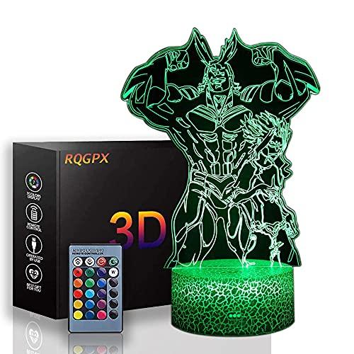 Lámpara de noche de ilusión 3D All·Might My Hero Academia 16 colores cambio automático interruptor táctil decoración escritorio lámparas regalo cumpleaños