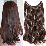 "TESS Haarteil Extensions 1 Pcs Haarverlängerung Synthetische Haare Extensions Haarverdichtung 24\""(60cm)-120g Gewellt Mittelbraun"