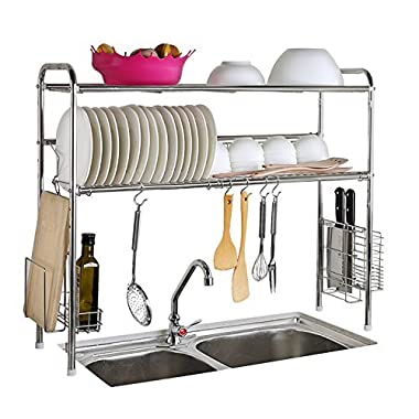 1208S 2-Tier Stainless Steel Dish Drying Holder Rack (Double Groove-Two-layer)