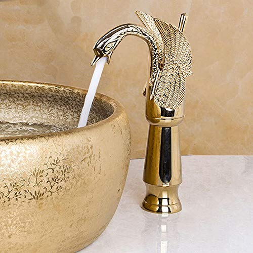 FQD&BNM Faucet Antique Brass Gold Chrome Black Swan Polish Bathroom Wash Basin Sink Tall Bathroom Deck Mounted Vessel Tap Mixer Faucet,Golden T Tap